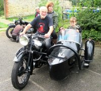 Middle Aston. 3 generations of the Wallis family on 1 outfit. John, Sonia, Danielle and 18 month old Tai.  BS is the 1936 JAP SS100